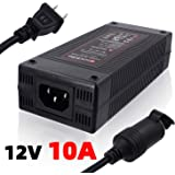 iSaddle 110V AC to 12V 10A DC Power Converter - 110V-240V AC Wall Plug to 12V DC Car Cigarette Lighter Socket…