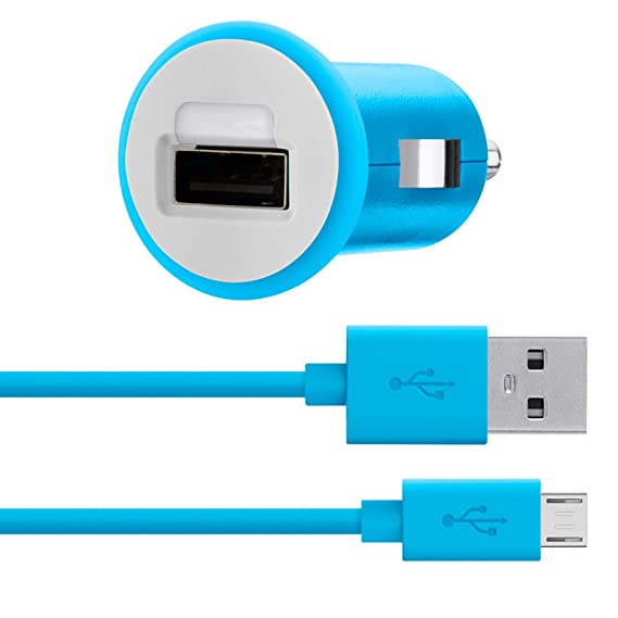 Amazon.com: Belkin MiXiT Car Charger + Micro USB Cable, 4 Feet (Blue ...