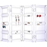 Sooyee 256 Holes 5 Tiers Acrylic Earrings Holder 4 Doors Foldable Necklace Hanging Jewelry Organizer Double Sided Stand Display,Clear