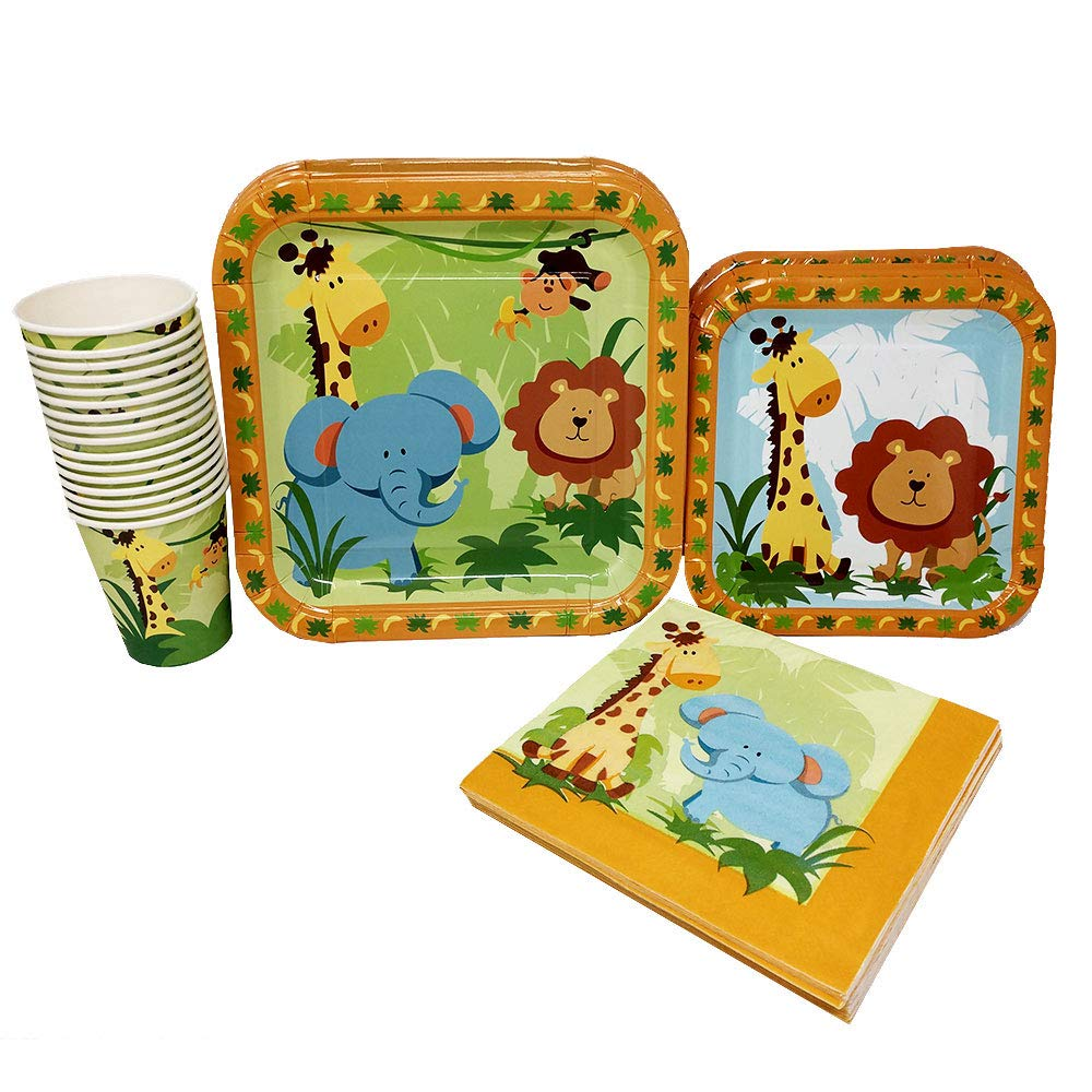 Safari Party Tableware Safari Party Supplies Blue Orchards Safari Party Standard Party Packs 65+ Pieces for 16 Guests!