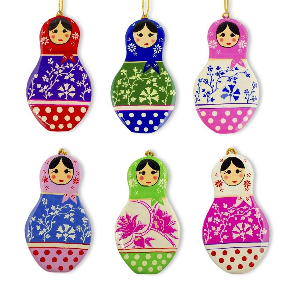 BestPysanky 6 Matryoshka Russian Nesting Dolls Wooden Christmas Ornaments CTZ-N