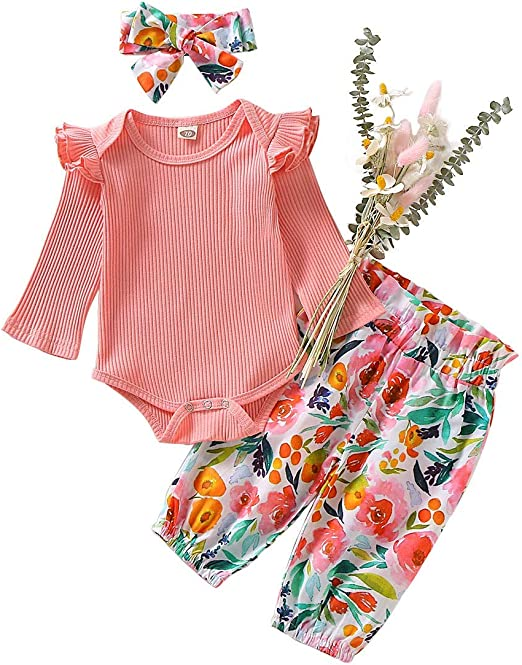 3PCS Newborn Toddler Baby Girl Outfits Ruffle Romper Floral Shorts Clothes Set