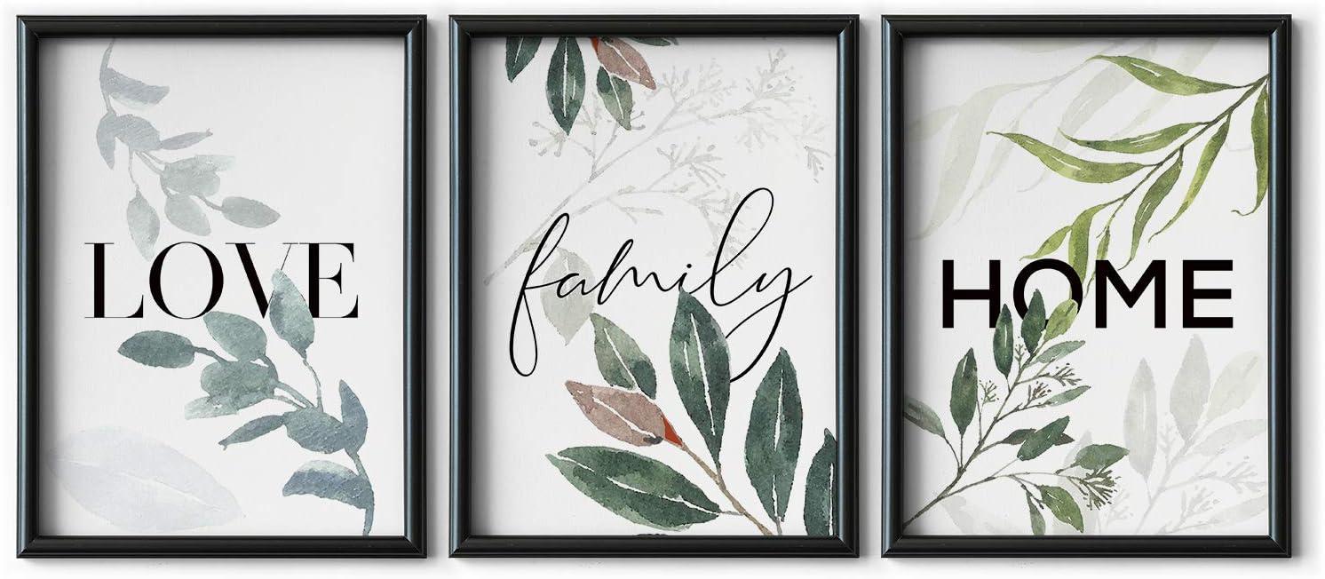 DONLETRA® Set de 3 Láminas Decorativas Nórdicas de LOVE/FAMILY/HOME para Enmarcar - A3 A4 - Decoración de Pared - Cuadros Modernos en Lienzo sin Marco, LSM-SET3-005 (A4)