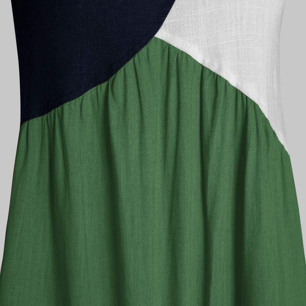 Hiistandd Women Summer Maxi Vintage Dress Color Block Casual Dress Crew Neck Short Sleeve and Sleeveless Dress /…