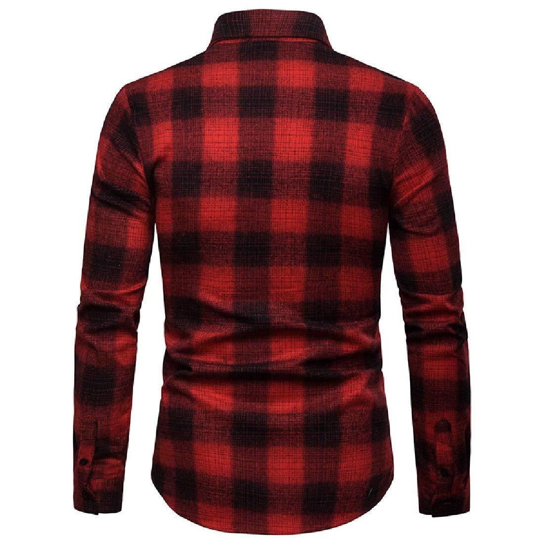Zimaes-Men Turn Down Collar Plaid Long Sleeve Casual Standard-fit Western Shirt