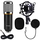 QIBOX BM-800 Pro Condenser Microphone Mic for Studio Broadcasting and Recording with Shock Mount, XLR Cable and Pop Filter, 3.5mm, Black