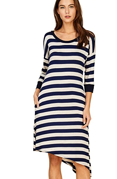 059661a5f1a849 Annabelle Women's Scoop Neck Quarter Band Sleeves Multiple Stripes Knit  Print Uneven Hem Loose and Relaxed Midi Dress with Side Pockets  Navy-Oatmeal Medium ...