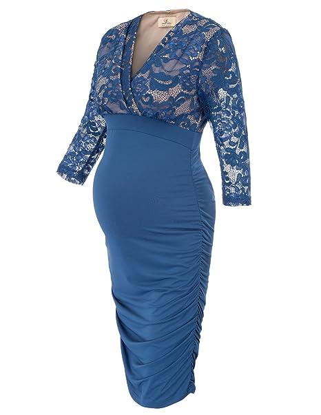 GRACE KARIN Mujer Vestido Encaje de Maternidad Premamá y Lactancia de Fiesta para Mujeres Embarazadas S