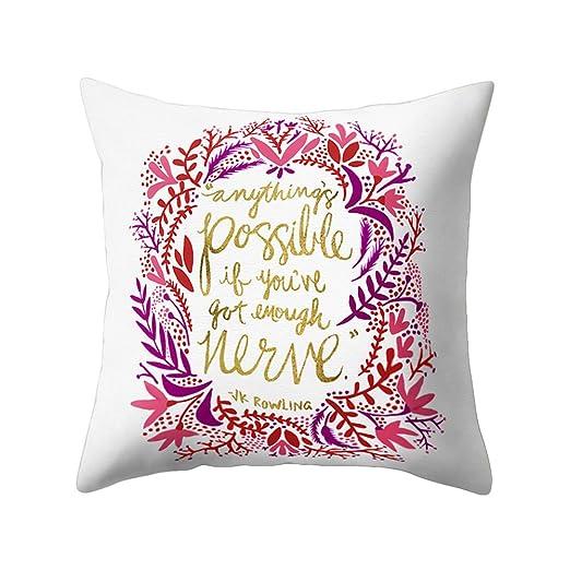 display08 carta frase de cojín manta funda de almohada sofá Fashion de decoración para el hogar, poliéster, 1#, 17.72