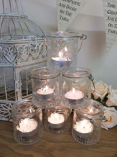 Set of 6 vintage glass tea light holders candle votive hanging set of 6 vintage glass tea light holders candle votive hanging jars wedding decoration junglespirit Gallery