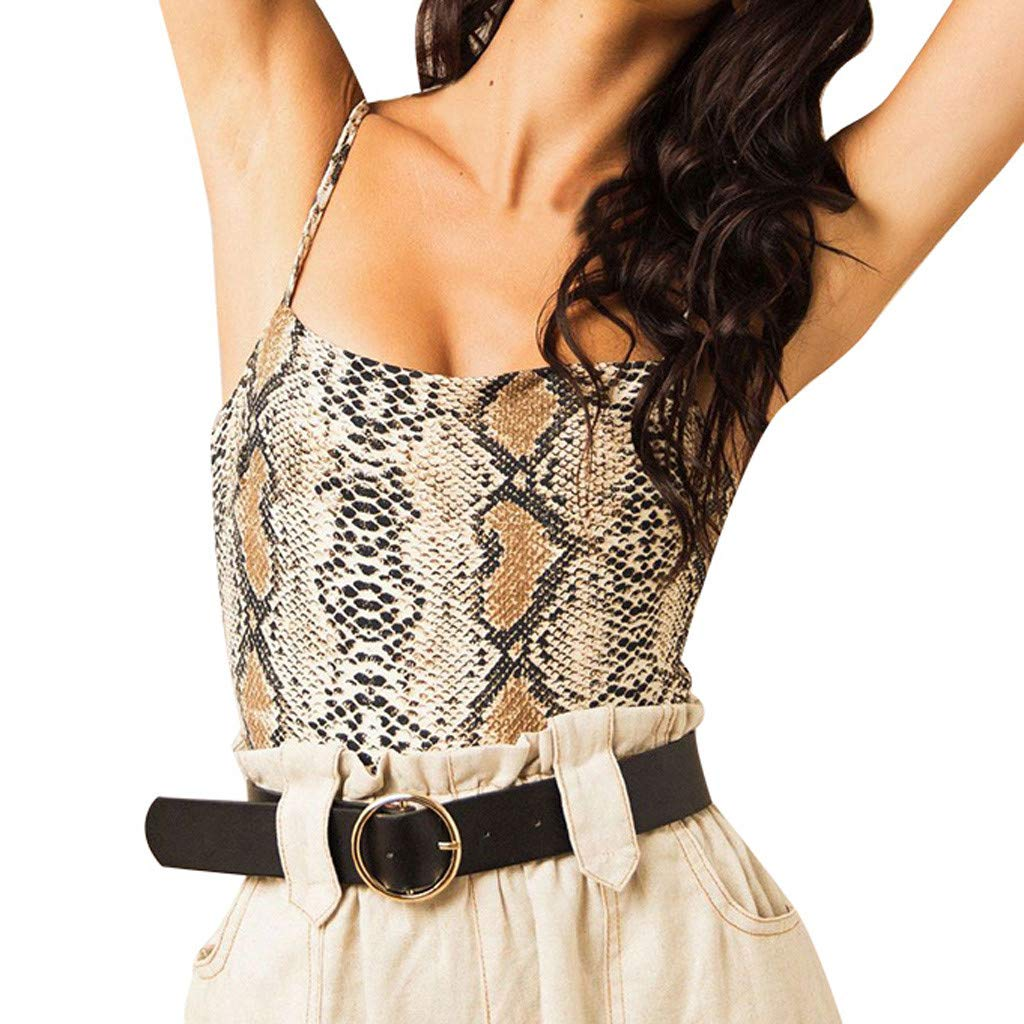 Women's Strap Vest, Sexy Sleeveless Strap Low Neck Snake Skin Print Summer Tank Tops Camisole Shirt (S, Brown)