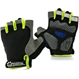 (green) - GEARONIC TM Cycling half Finger Mountain Bicycle Men Women Gel Pad Anti-slip Breathable Outdoor Sports Shock-absorbing Riding Biking Cycle Gloves - Green L
