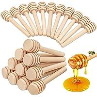 25pc-8cm Honey Dipper Wooden Honey Stirring Rod Muddler Stick Spoons for Honey Jar Dispense Drizzle Honey