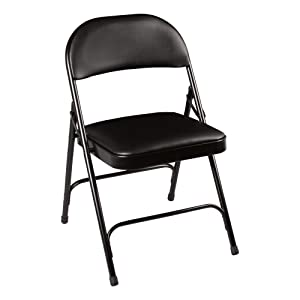 Norwood Commercial Furniture 6600 Series Folding Chair with Vinyl Upholstered Seat and Back, Black, NOR-SRO593-VBK-SO (Pack of 4)