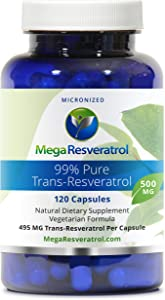 Mega Resveratrol, Pharmaceutical Grade, 99% Pure Isolate, Micronized Trans-Resveratrol, 120 Vegetarian Capsules, 500 mg per Capsule. Purity Certified. Absolutely no excipients (aka Inactive Ingredients) Added