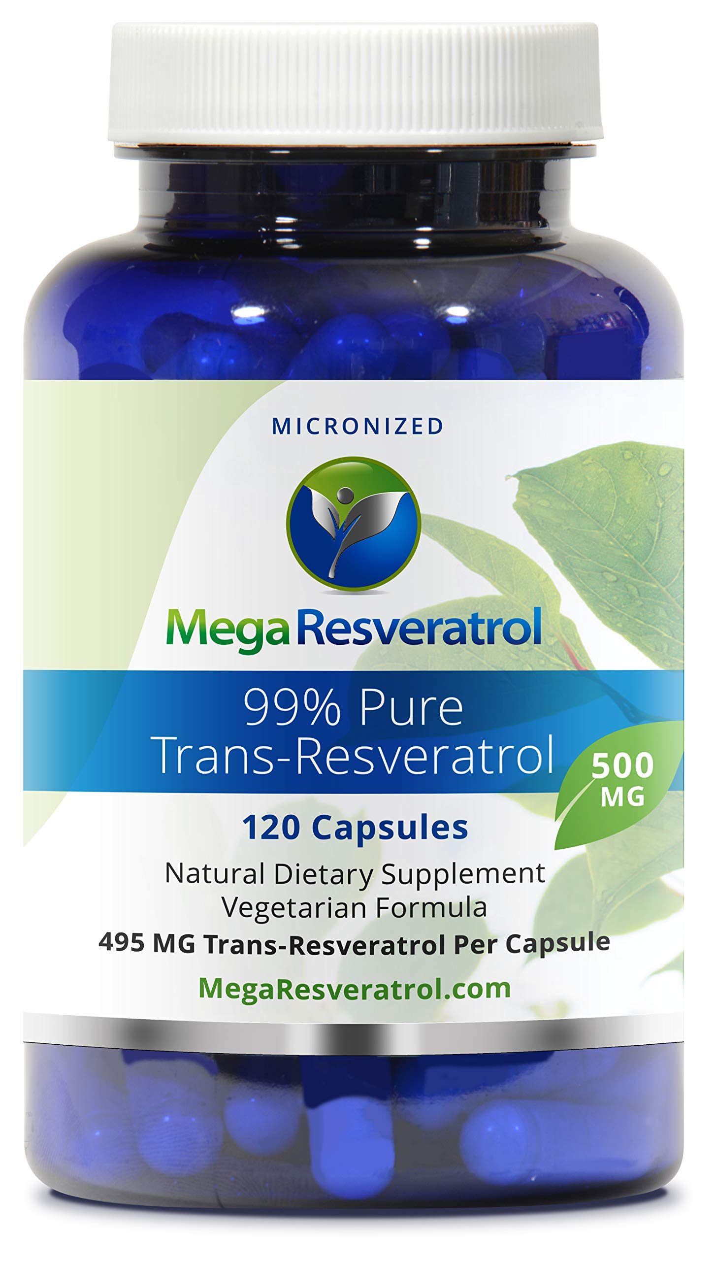 Mega Resveratrol, Pharmaceutical Grade, 99% Pure Micronized Trans-Resveratrol, 120 Vegetarian Capsules, 500 mg per Capsule. Purity Certified. Absolutely no excipients (aka Inactive Ingredients) Added by Mega Resveratrol