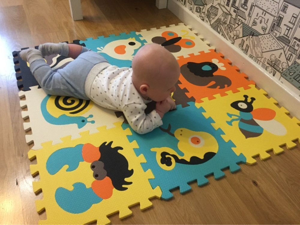 92 x 92 x 1 cm f/ür Kinder gro/ße Bodenfliesen Puzzle Spielmatten und Fu/ßb/öden 9 St/ück f/ür den Boden meiqicool Schaumstoff-Spielmatte mit Tier-Motiv