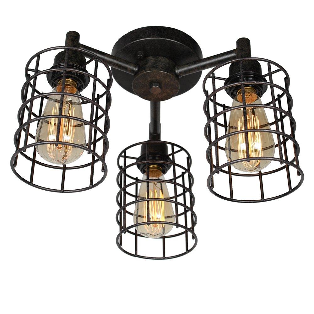 Baiwaiz Industrial Ceiling Lighting, Metal Wire Cage Semi Flush Mount Ceiling Light 3 Lights Edison E26 Black Rust Finish 076