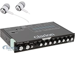 Clarion EQS755 7-Band Car Audio Graphic Equalizer with Front 3.5mm Auxiliary Input, Rear RCA Auxiliary Input and High Level Speaker Inputs / FREE ALPHASONIK EARBUDS