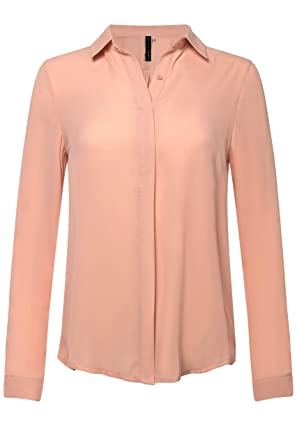 2c205aeb59a Ollie Arnes Women s Solid Chiffon Sheer Long Sleeve Work Casual Blouses08T   Blush S