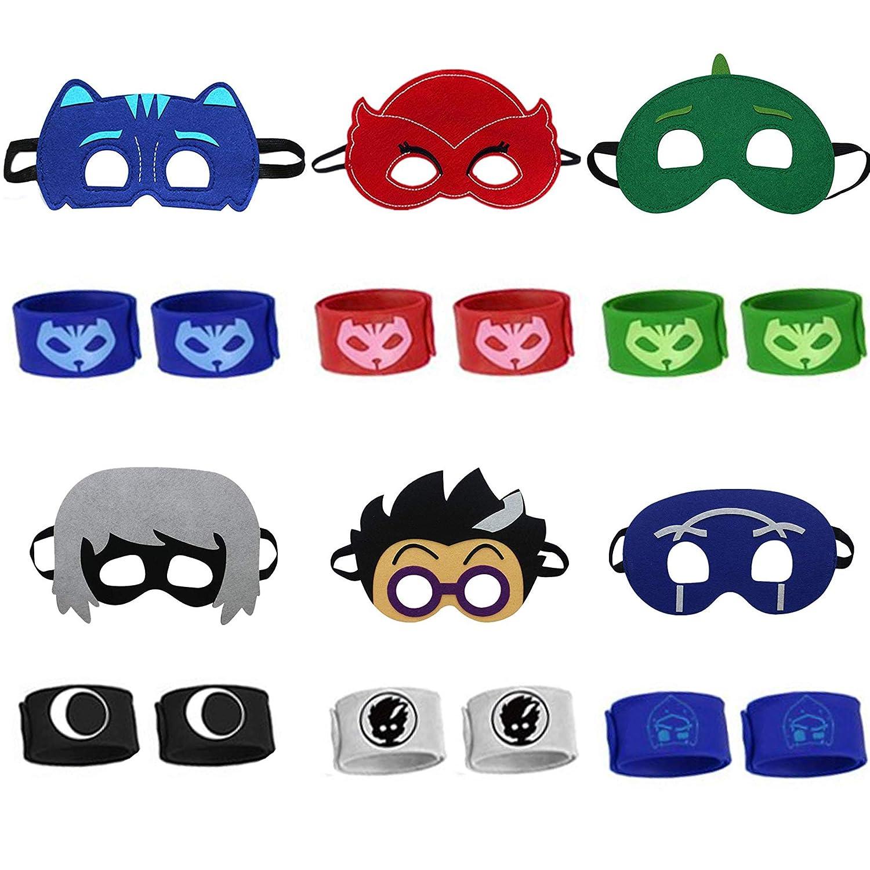 mimibaojia Kids Cartonn Hero Party Favors Dress Up Costumes Set of 6 Mask Bracelet Mask Bracelet 2