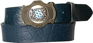 Fronhofer Trachtengürtel Herren mit Bayern Schnalle, echt Leder, Bayerische Löwen Schließe, 17497, Größe:Bundweite 90 cm = Gesamtlänge 105 cm, Farbe:Denim