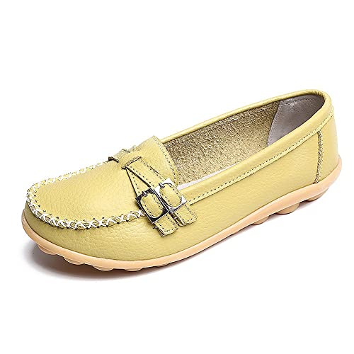 LabatoStyle Womens Genuine Leather Loafers Moccasin Flat Slip-On Slippers Oxfords Breathable Shoes