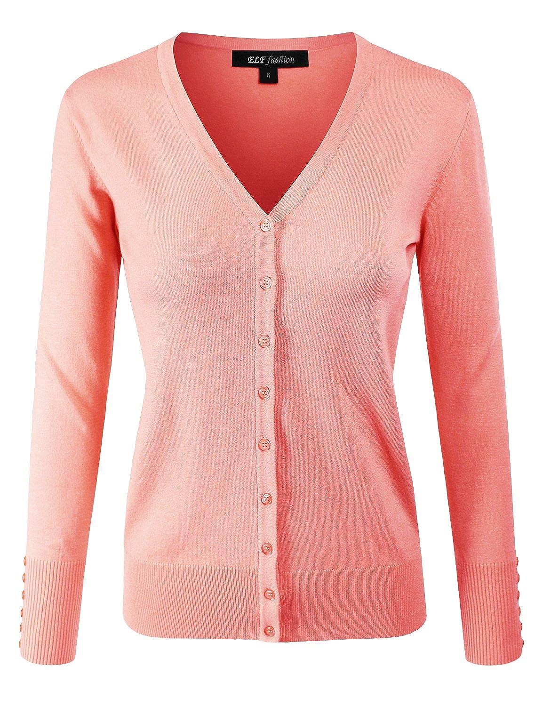 Eftcs2peach ELF FASHION Women Top Long Sleeve Button VNeck Cardigan Sweater