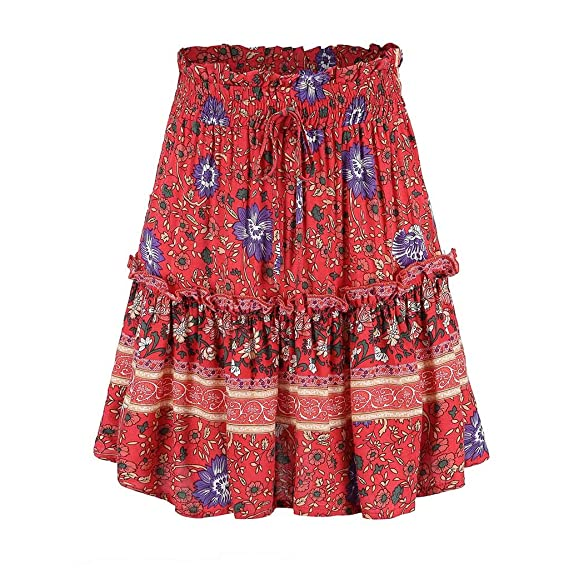 Qijinlook 💖 Falda Corta Vintage Verano/Bohemia Plisada Falda ...