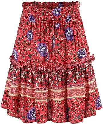 Qijinlook Falda Corta Vintage Verano/Bohemia Plisada Falda Mujer ...