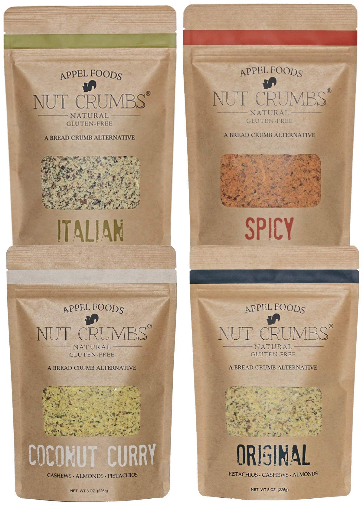 Appel Foods - Nut Crumbs - Bread Crumb Alternative - Gluten Free - Sugar Free - Low Carb - Low Sodium - Raw, Premium Nuts - Variety Pack by Appel Foods Nut Crumbs Natural Gluten-Free A Bread Crumb Alternative