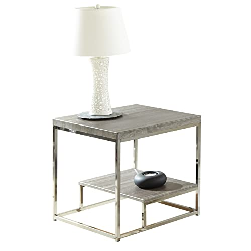 Steve Silver Company Lucia End Table, 24 x 24 x 24 , Grey