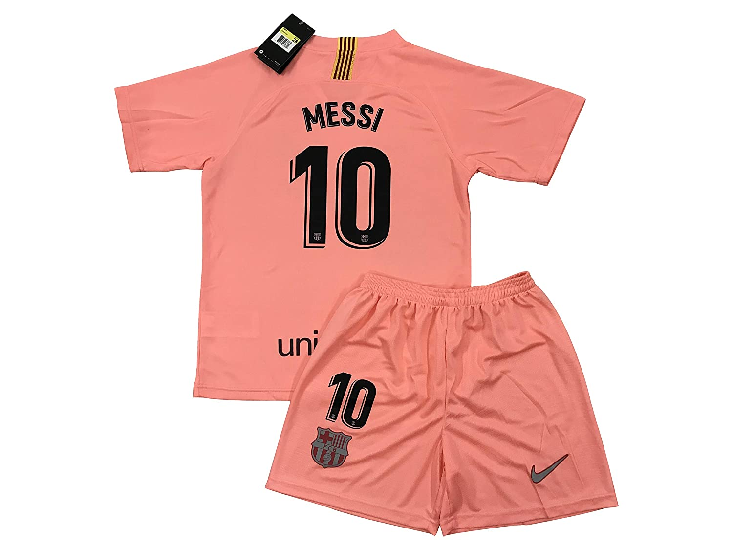 4576db9ac92 Amazon.com: TrendsNow New 2018/2019 Messi #10 FC Barcelona 3rd Jersey &  Shorts for Kids/Youths: Clothing