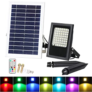 Solar LED Flood Lights, T-SUNRISE 50W RGB Color Changing Outdoor Security Floodlight, IP65 Waterproof, Remote Control, Landscape Lighting Solar Spotlight for Decking Lighting, Patio Lighting