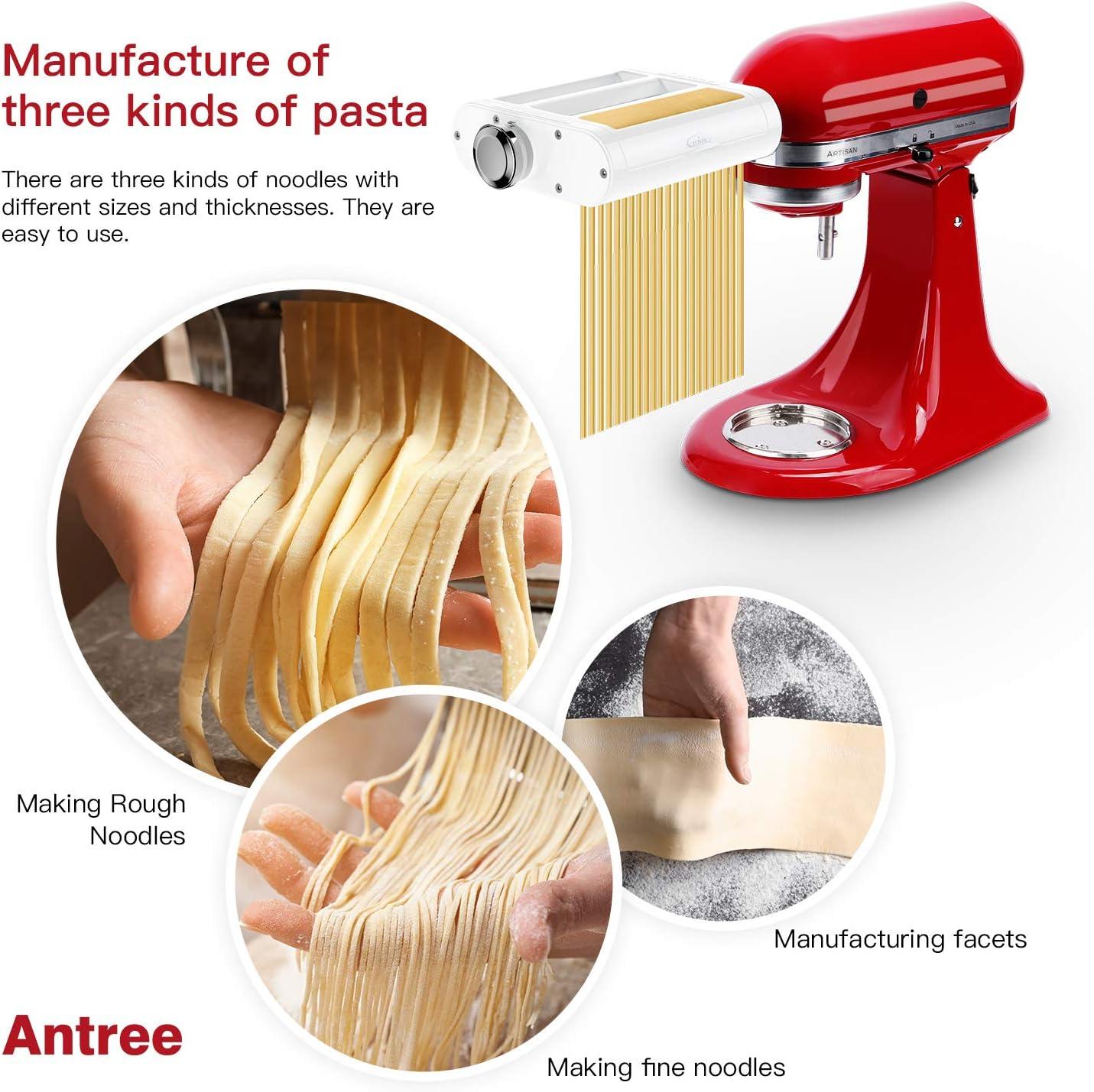 Taglia Fettuccine ANTREE Set per Mixer KitchenAid con Supporto Incluso Rullo per la Pasta Rullo e taglierina 3 in 1 Taglia Spaghetti