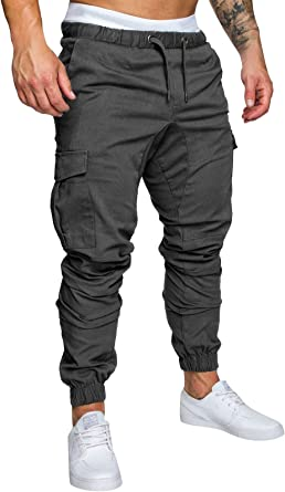 Homme Pantalon Casual Cargo Chino Jeans Sport