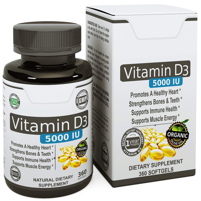 Vita Opte Vitamin D3 5000 IU - in Certified Organic Olive Oil (360 minigels) GMO-Free & Made in USA by Vita Opte