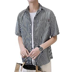 [Flapkash(フラップカッシュ)] チェストポケット ストライプ シャツ 半袖 カジュアル トップス 春 夏 メンズ (02.L, ブラック)