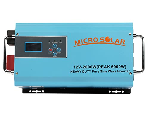 HEAVY DUTY 35 lb - 12V 2000W PEAK 6000W Pure Sine Wave Inverter - MicroSolar - With Battery Charger Cable - Support Microwave, Air Conditioner etc.