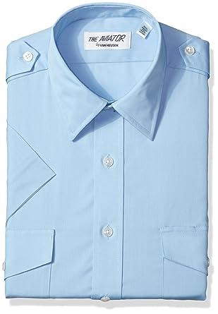 81f5fccd Van Heusen Mens Dress Shirts Short Sleeve Aviator Shirt Solid Spread Collar  at Amazon Men's Clothing store: