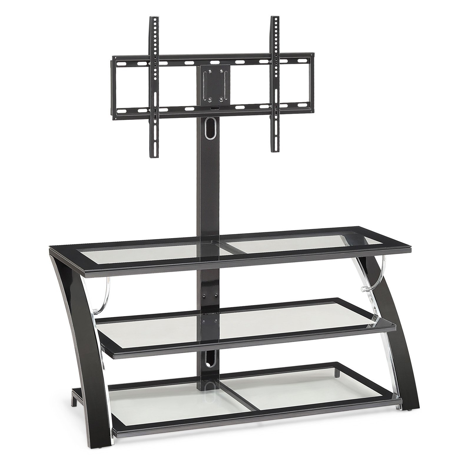 50 in. TV Stand Made of Durable Metal and Glass Sleek Chrome and Black Finish 3 Shelves for Storage or Display Cable Management System by eCom Fortune