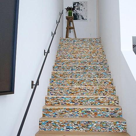 YYH Ristrutturazione Domestica 3D Pietra Colorata Adesivi per Scale ...