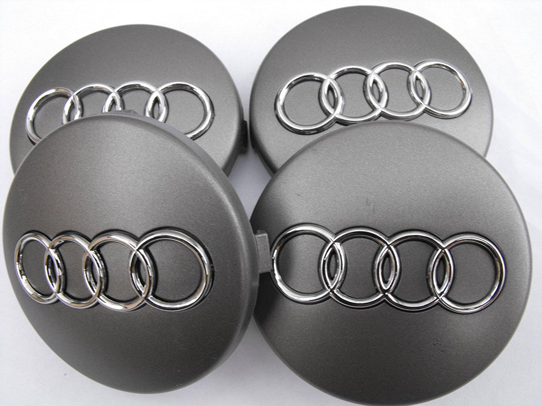 Audi - Juego de 4 tapabujes de 60mm en color gris oscuro con anagrama: Amazon.es: Coche y moto
