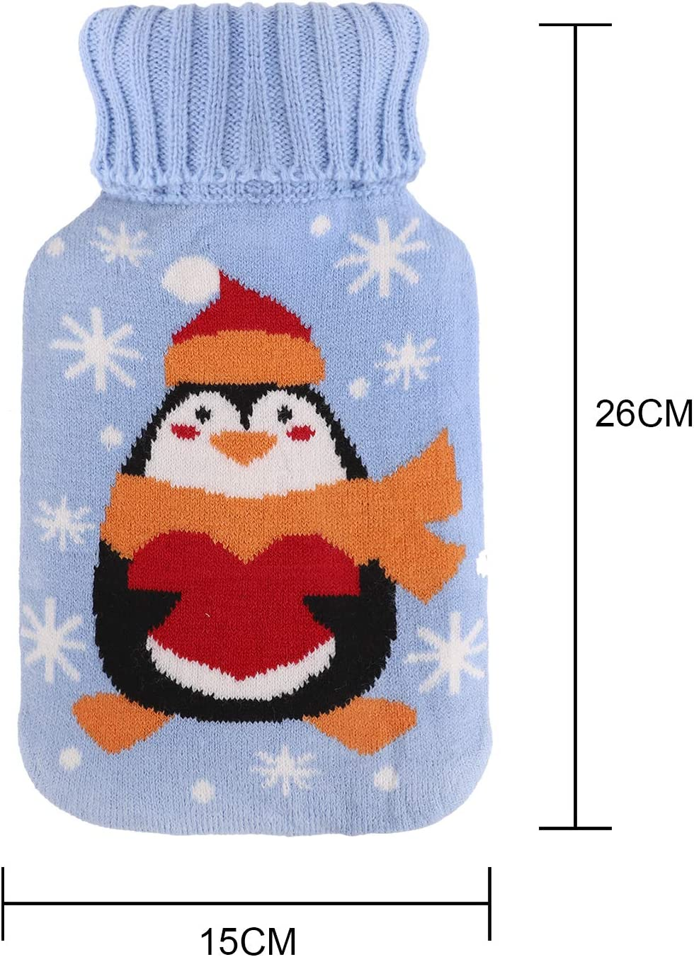 Moonlove Hot Water Bag 1000ml Rubber Hot Water Bottle with Lovely Cartoon Knitted Cover Removable Warm Your Hands Foot Stomach-Safety Tested Bear