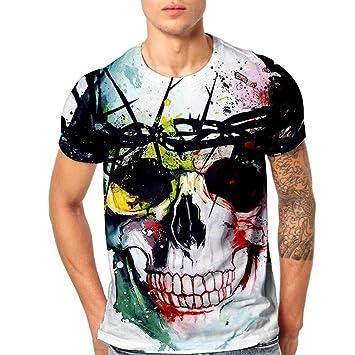 Mamum Camiseta de manga corta para hombre, diseño de calavera, impresión 3D, diseño de calaveras multicolor multicolor 2XL: Amazon.es: Jardín