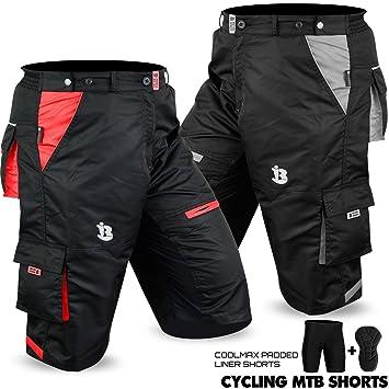 6fde5ca46 Biz Inn Sports MTB Cycling Short Off Road Cycle Bicycle CoolMax Padded  Liner Shorts (Grey