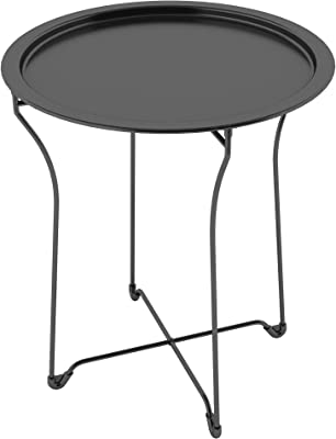 Modern Sleek End Table With Removable Round Tray Top, Constructed From  Metal For Durability,