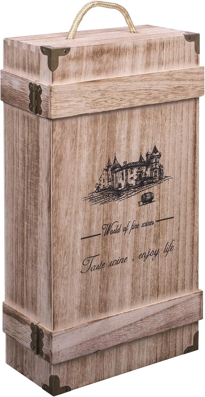 Woodluv - Caja de regalo con asa integrada para botellas de vino o champán