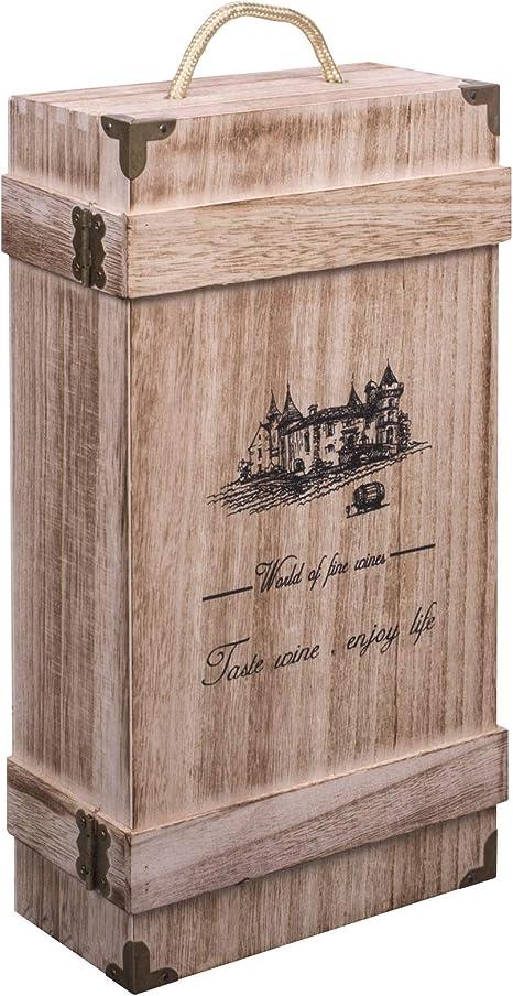 Woodluv - Caja de regalo de madera para botella de vino o champán con asa integrada: Amazon.es: Deportes y aire libre