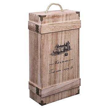 woodluv - Caja de Regalo con asa integrada para Botellas de Vino o champán: Amazon.es: Deportes y aire libre
